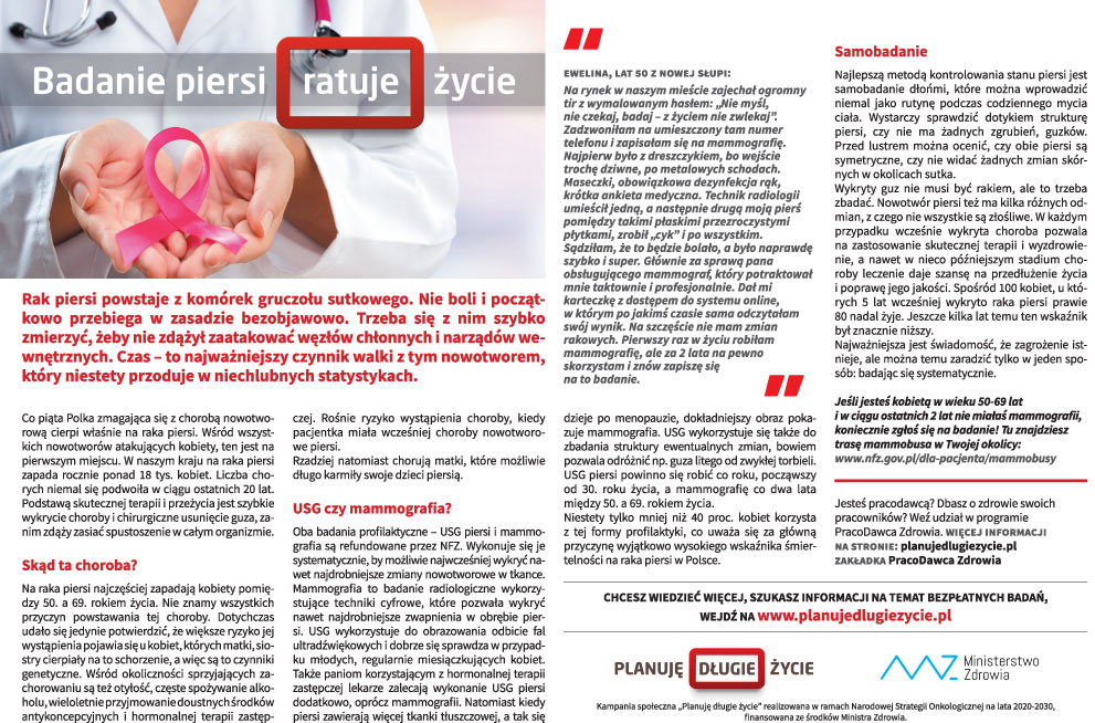 Badanie piersi ratuje życie - Zdjęcie główne