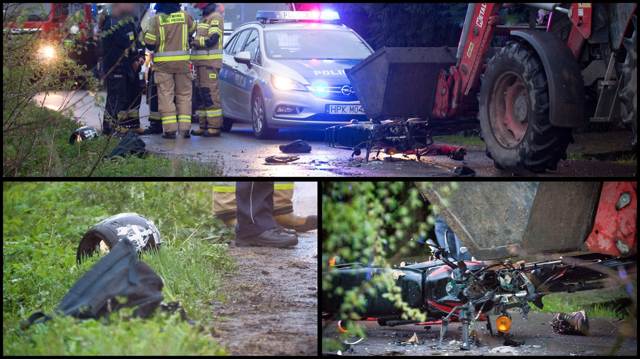 Zderzenie ciągnika rolniczego z motocyklem [ZDJĘCIA] - Zdjęcie główne