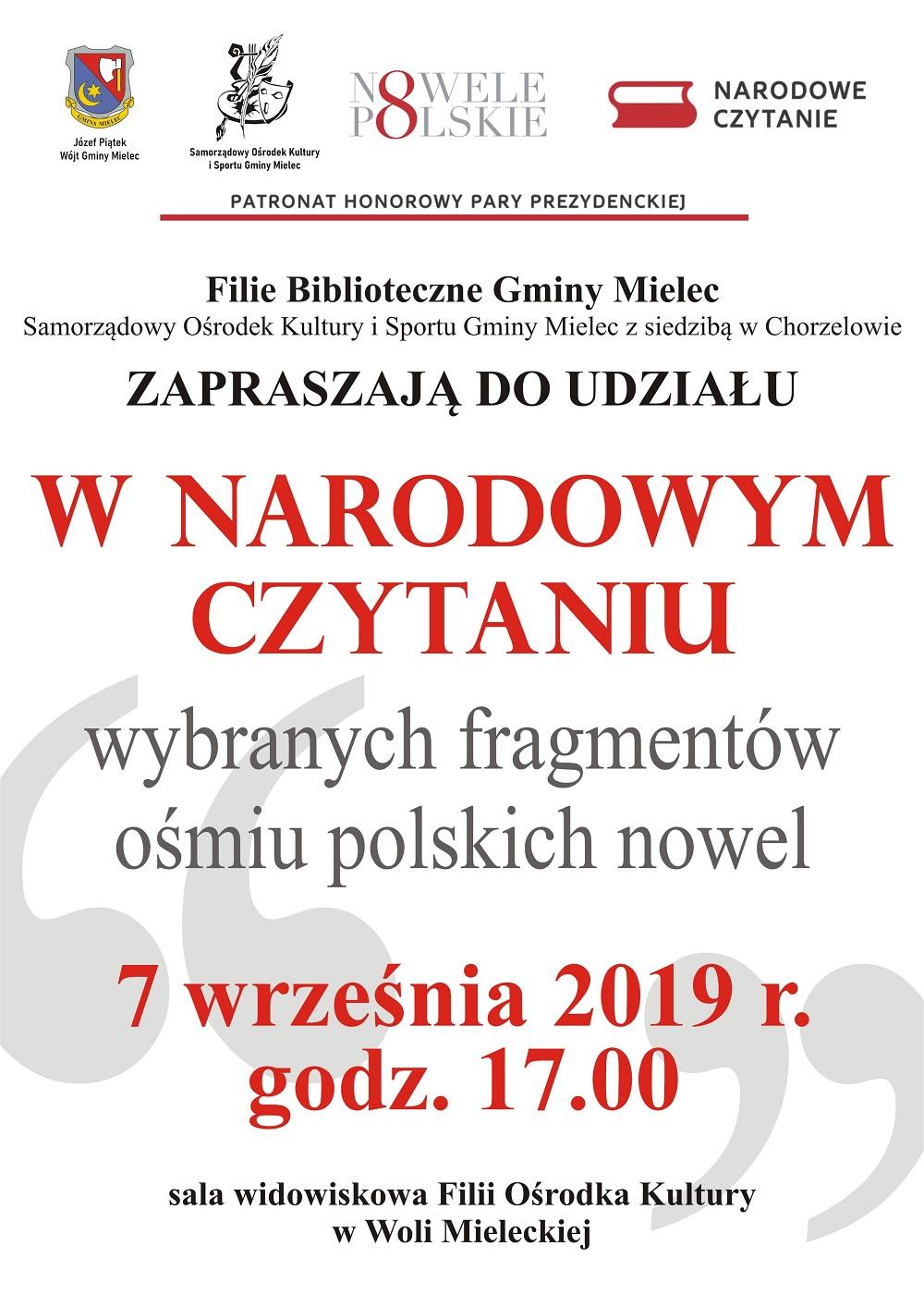 Narodowe czytanie w gminie Mielec - Zdjęcie główne