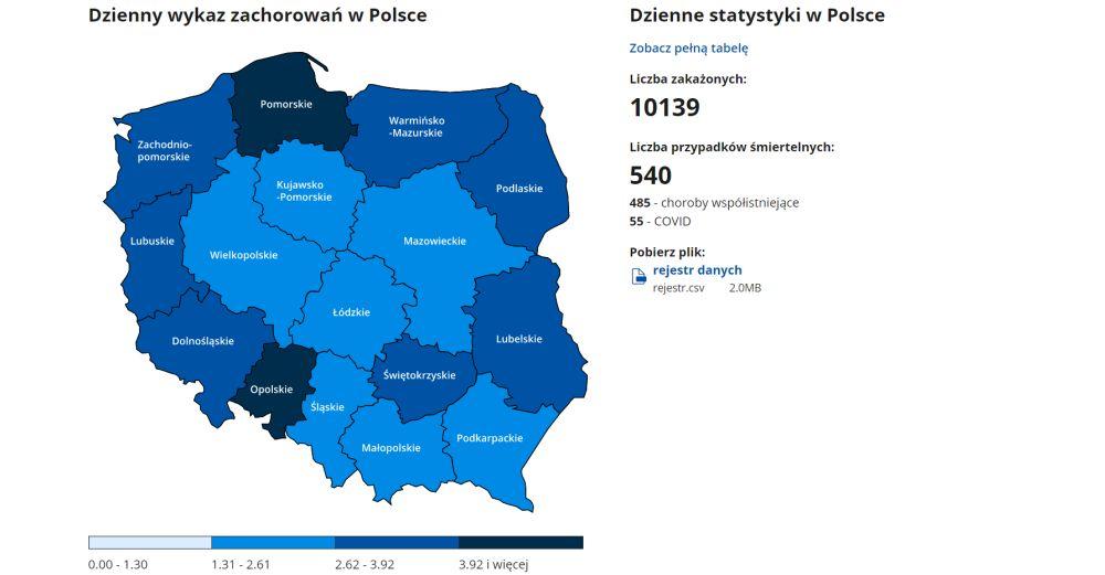 Mapa COVID-19 już działa! Zobacz dane z powiatu mieleckiego - Zdjęcie główne