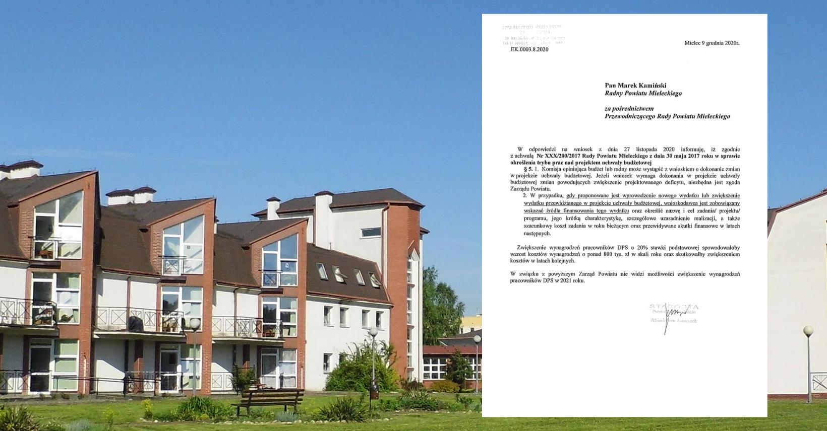 Radny powiatowy apeluje o podwyżki dla pracowników mieleckiego DPS. Jest stanowisko Zarządu Powiatu - Zdjęcie główne