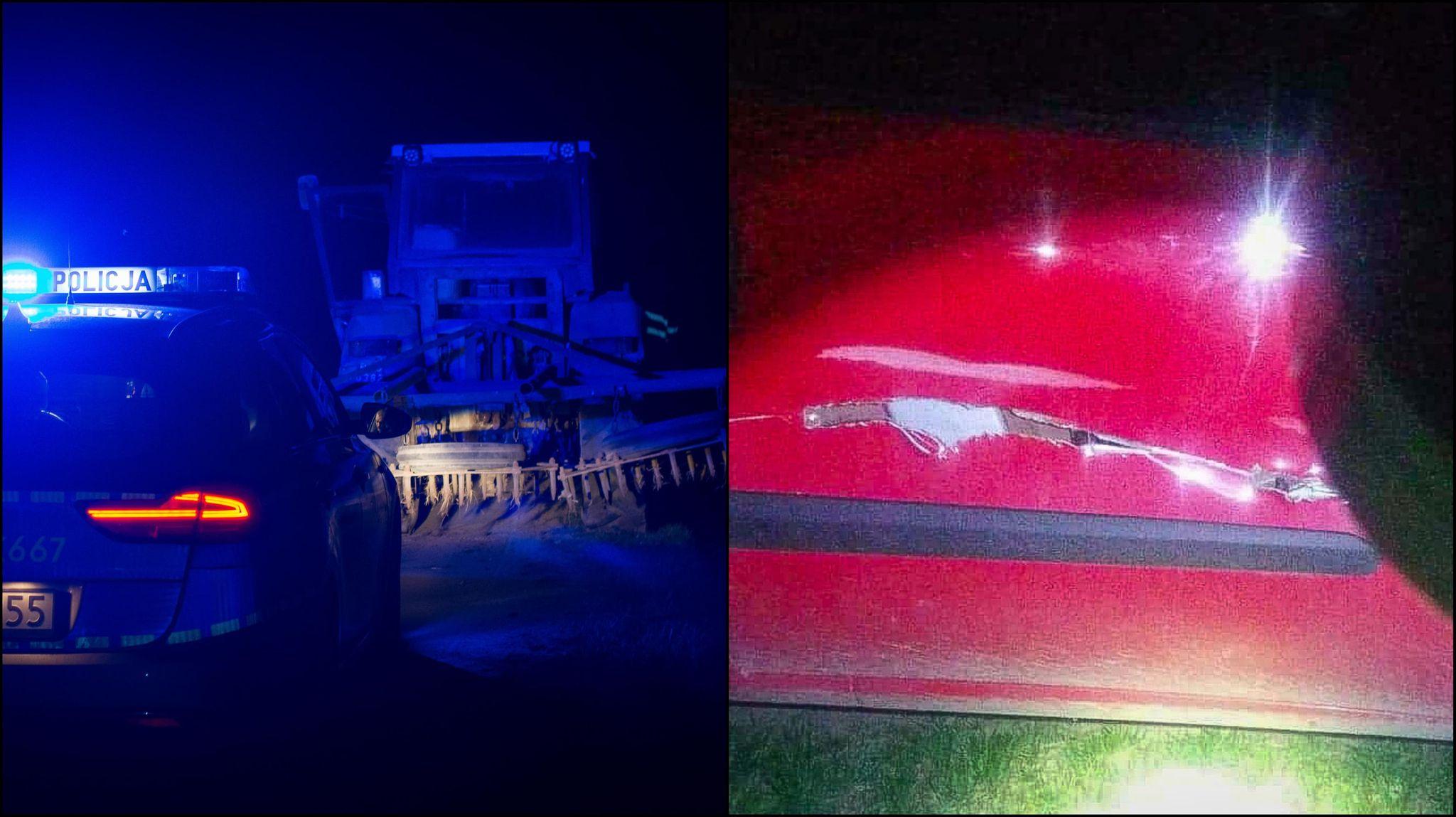Zderzenie z nieoświetlonym ciągnikiem rolniczym [ZDJĘCIA] - Zdjęcie główne
