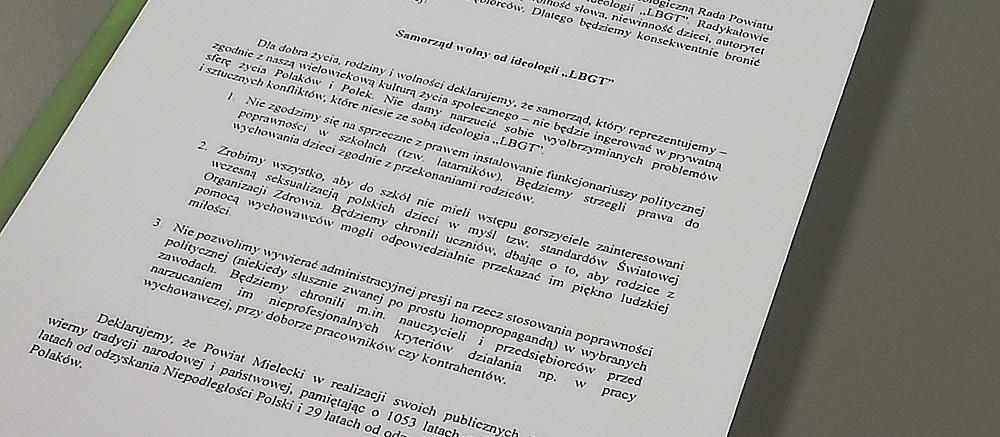 Afera ideologiczna na Radzie Powiatu Mieleckiego. Chodzi o LGBT!  - Zdjęcie główne