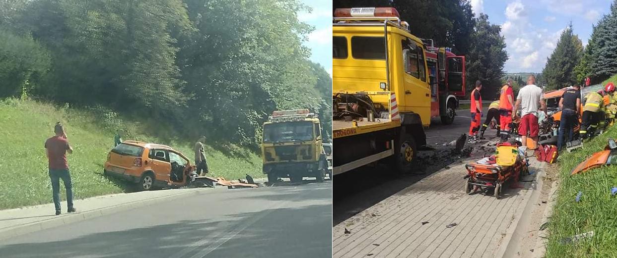 Wypadek na drodze wojewódzkiej 988 w Gliniku Charzewskim - Zdjęcie główne