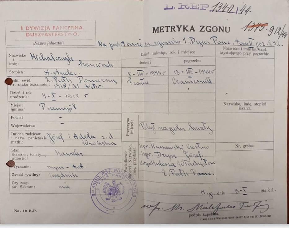 Poszukiwani krewni Franciszka Michalczyka z Żurawicy koło Przemyśla. Był żołnierzem u generała Maczka - Zdjęcie główne