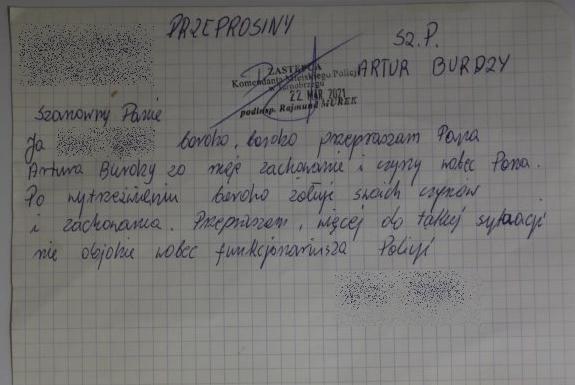 Najpierw znieważył policjanta, później wysłał mu list z przeprosinami - Zdjęcie główne
