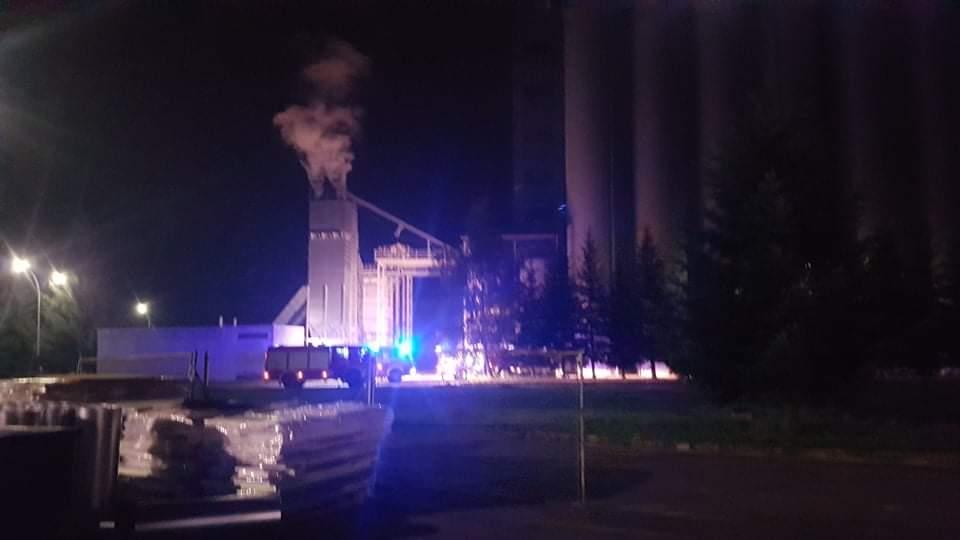 Pożar kukurydzy w spichlerzu firmy Elewarr w Rzeszowie na Załężu - Zdjęcie główne