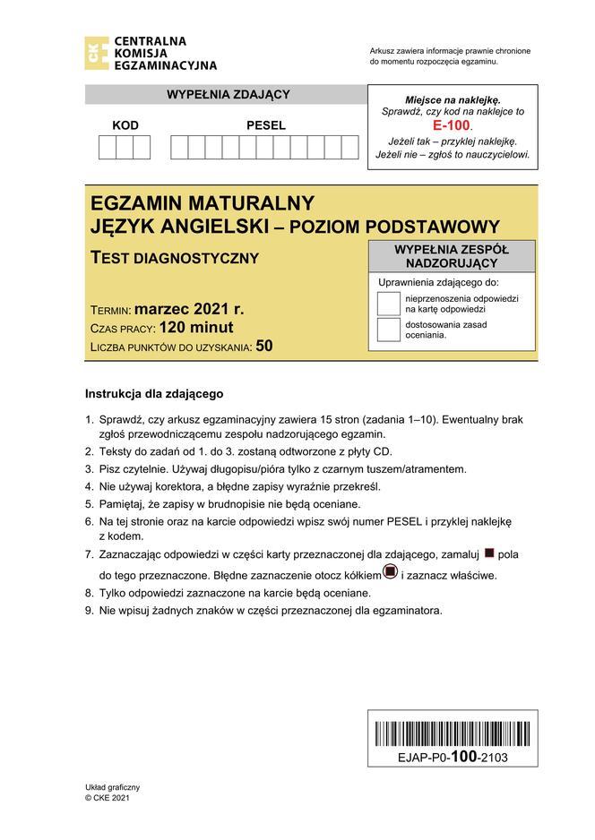 MATURA 2021: Dzisiaj egzamin PRÓBNY z języka angielskiego [ZOBACZ ARKUSZ I ODPOWIEDZI] - Zdjęcie główne