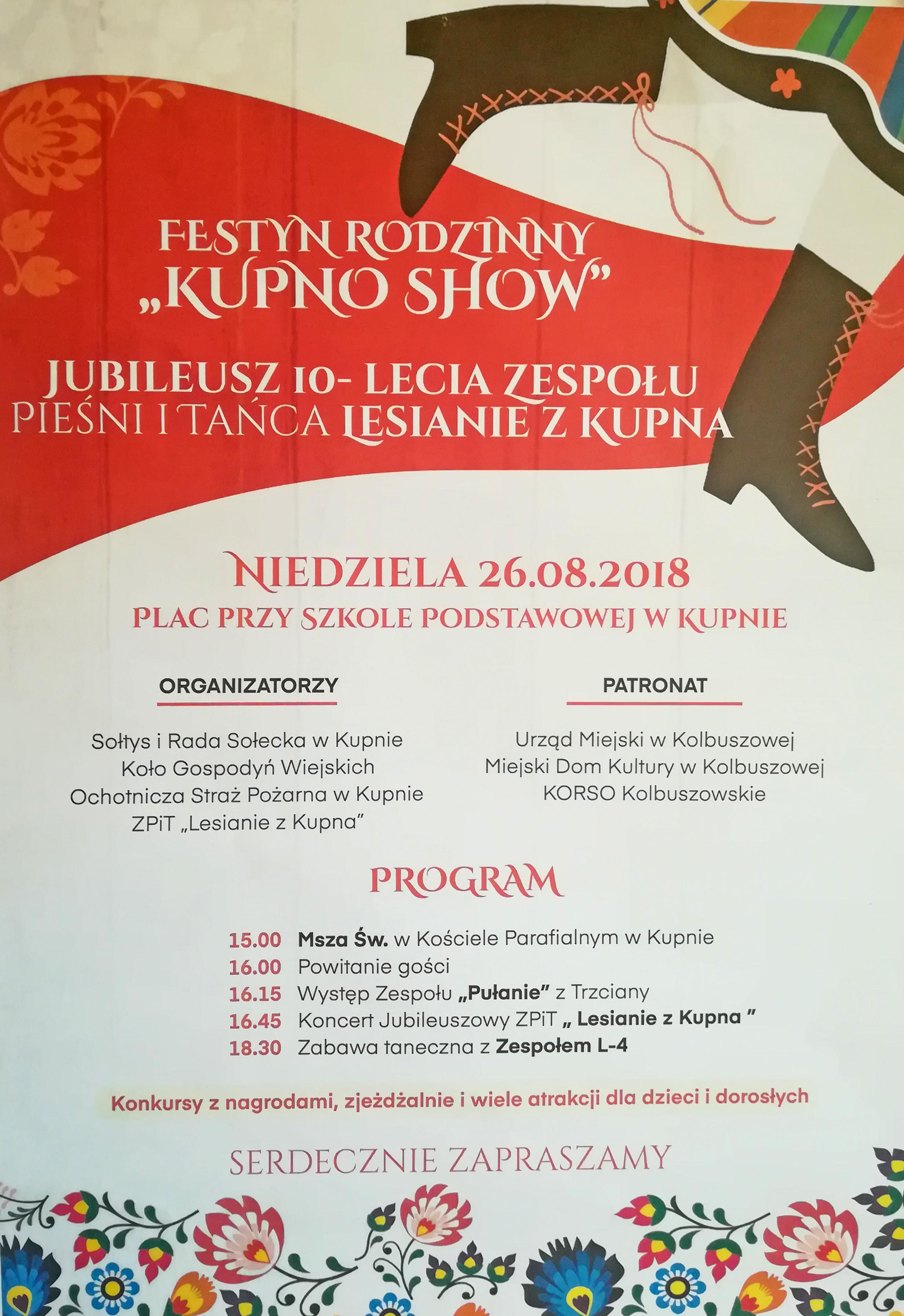 Kupno Show 2018 z jubileuszem Zespołu Pieśni i Tańca Lesianie. Mamy program imprezy - Zdjęcie główne