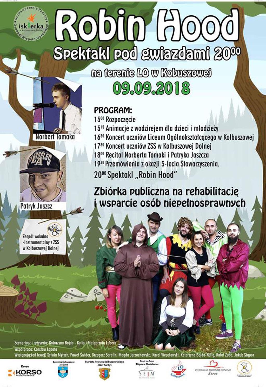 Kolbuszowa. Już wkrótce Robin Hood- spektakl pod gwiazdami, na terenie LO w Kolbuszowej. Recital Norberta Tomaki i Patryka Jaszcza - Zdjęcie główne