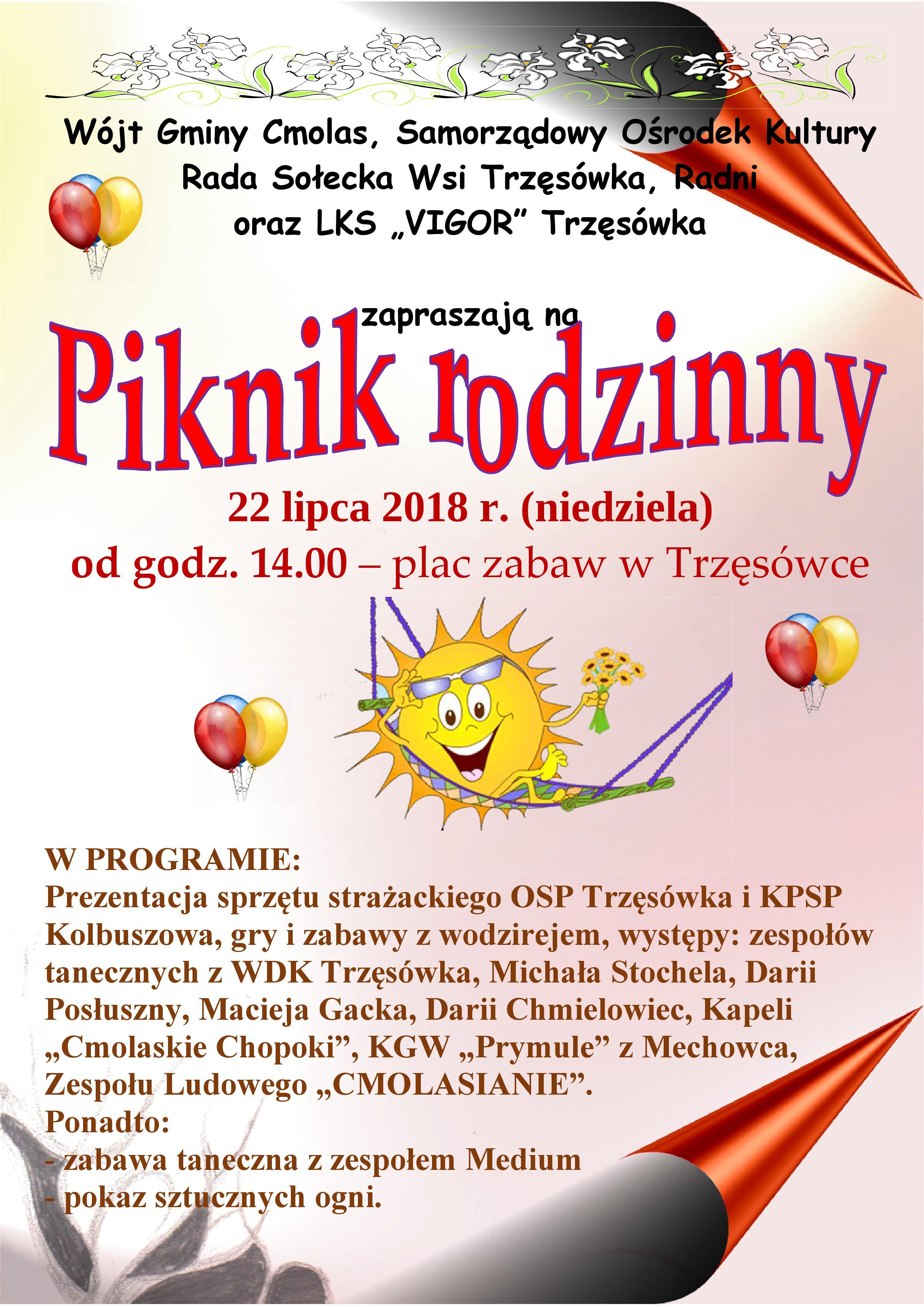 Gmina Cmolas. W Trzęsówce szykuje się Piknik rodzinny. Organizatorzy zapewniają atrakcje dla wszystkich gości  - Zdjęcie główne