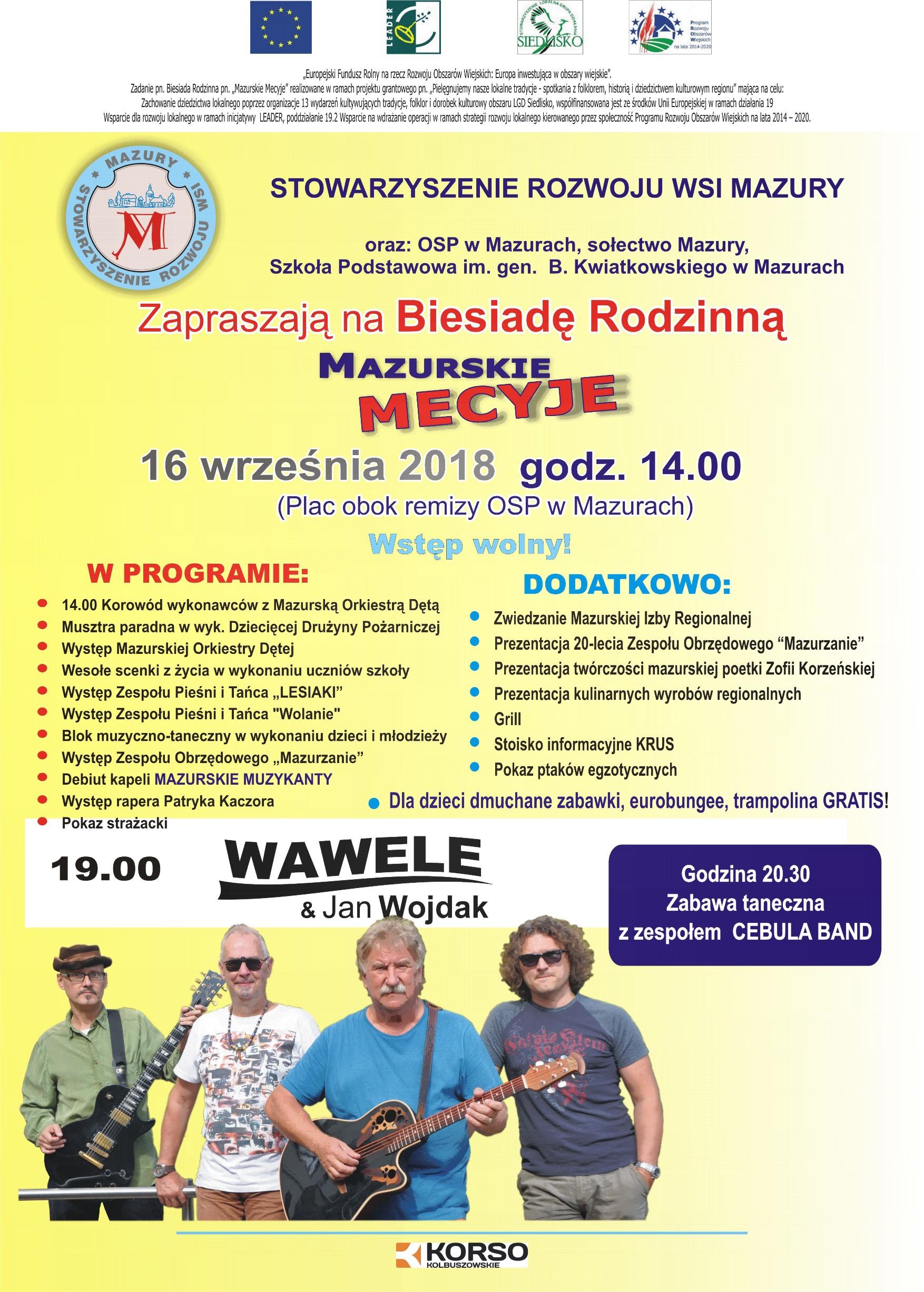 """Gmina Raniżów. Mieszkańcy spotkają się na rodzinnej biesiadzie """"Mazurskie Mecyje""""  - Zdjęcie główne"""