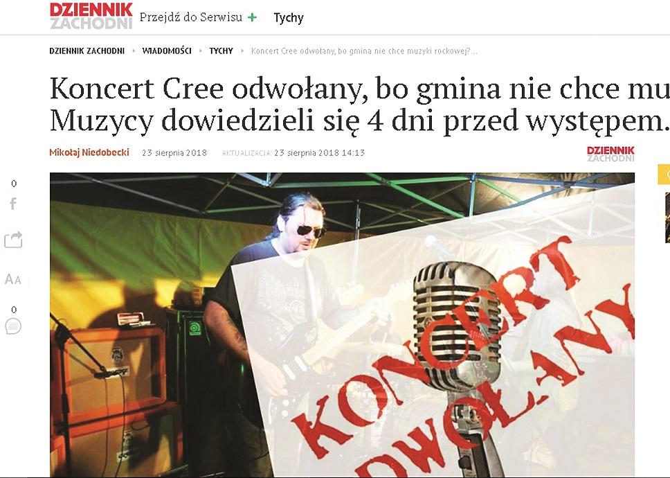 Gmina Raniżów. Koncert rockowego zespołu Cree został odwołany. O Raniżowie zrobiło się głośno w ogólnopolskich mediach - Zdjęcie główne