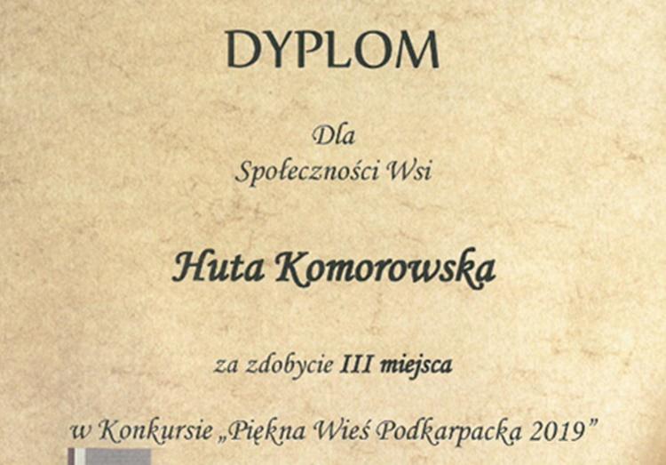 """Huta Komorowska na podium w konkursie """"Piękna Wieś Podkarpacka 2019 r."""" - Zdjęcie główne"""
