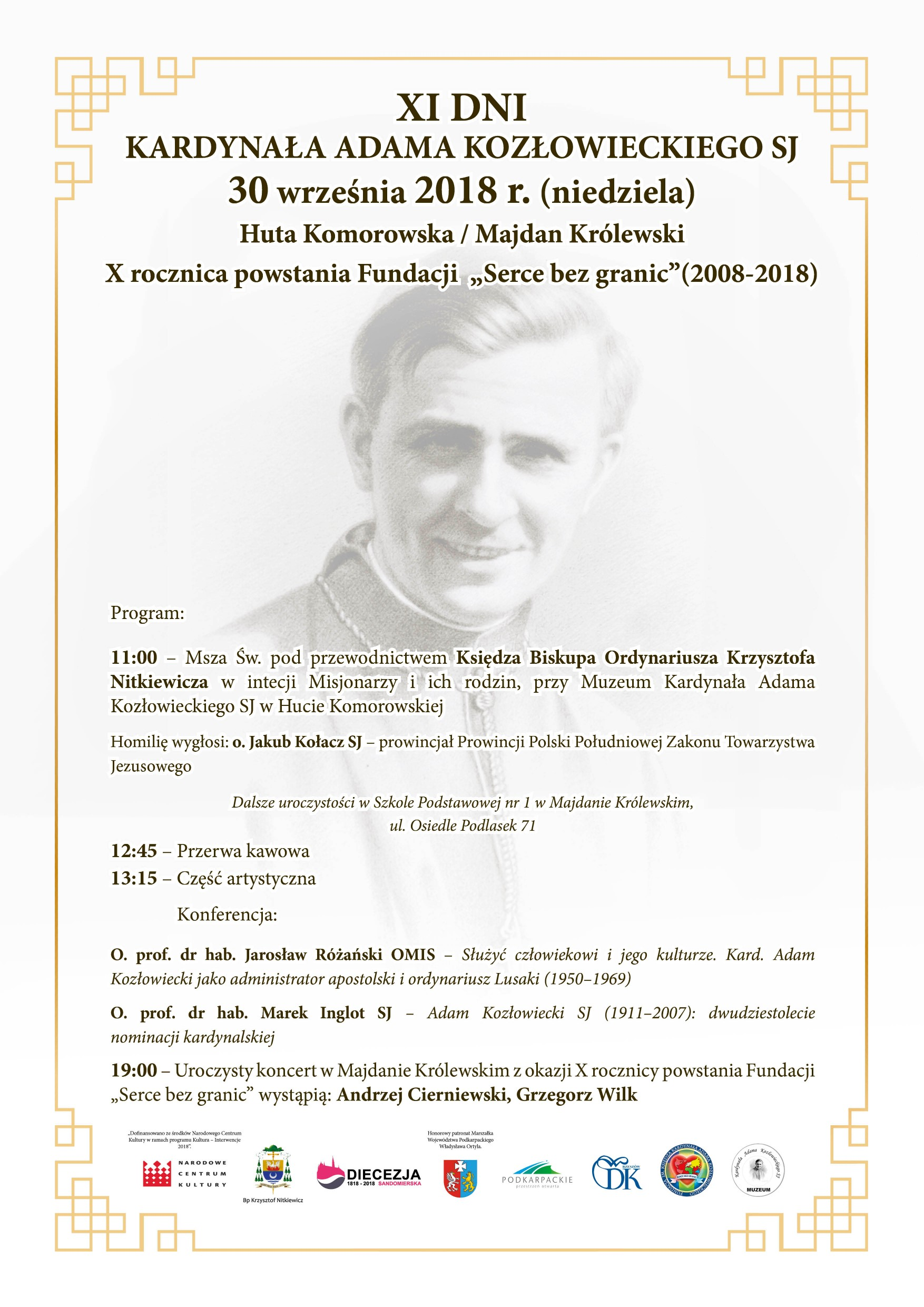 W najbliższą niedzielę odbędą się XI Dni Kardynała Adama Kozłowieckiego. Wystąpią Grzegorz Wilk i Andrzej Cierniewski  - Zdjęcie główne