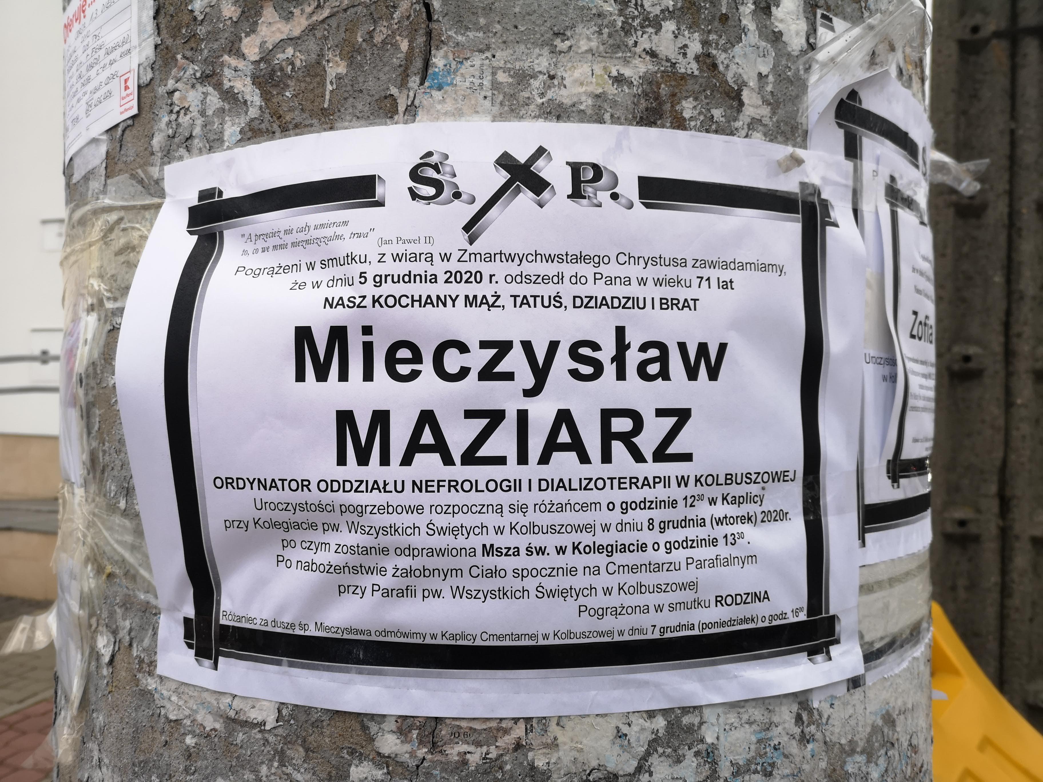 Dzisiaj pogrzeb doktora Maziarza. Proboszcz apeluje  - Zdjęcie główne