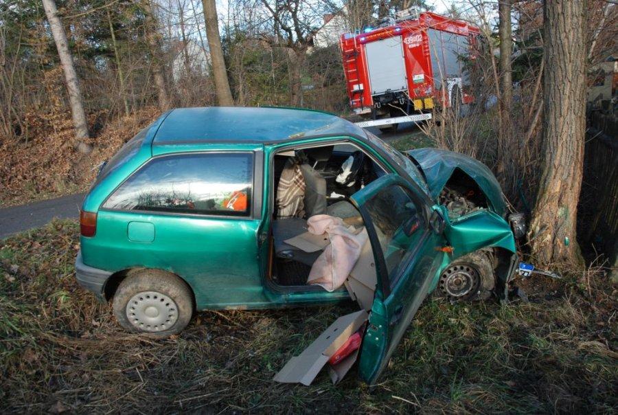 Z PODKARPACIA. Seat zatrzymał się na drzewie. Staruszka trafiła do szpitala | ZDJĘCIA | - Zdjęcie główne