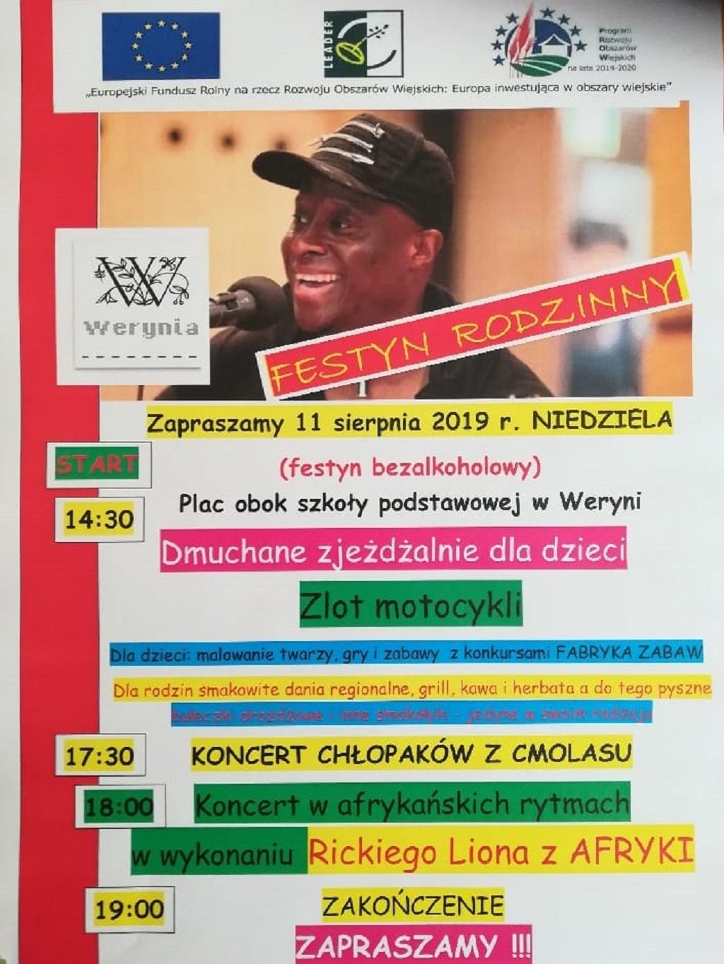 Koncert w afrykańskich rytmach w wykonaniu Rickiego Liona z Afryki, czyli festyn w Weryni  - Zdjęcie główne