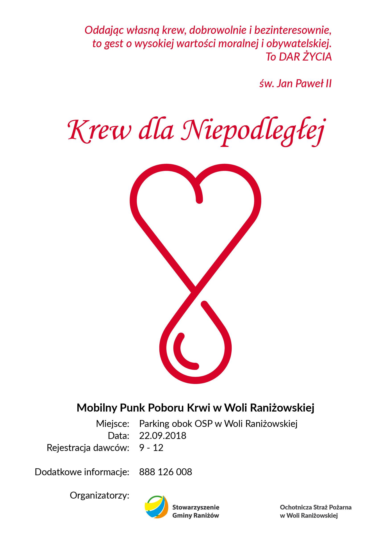 Gmina Raniżów. Jutro w Woli Raniżowskiej będzie można oddać krew  - Zdjęcie główne