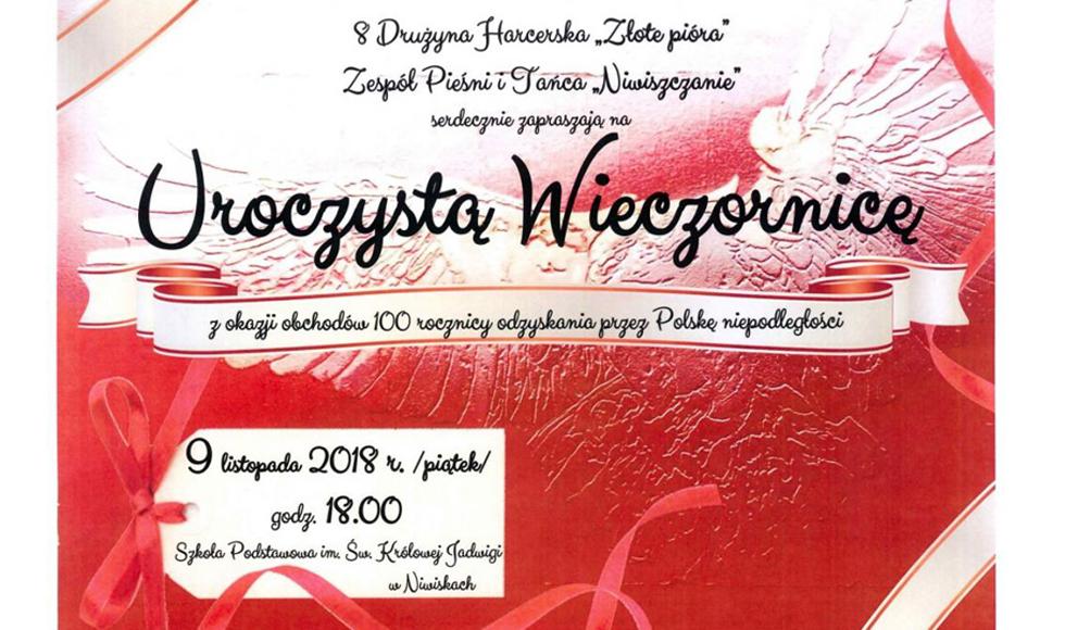 Niwiska. Uroczysta Wieczornica z okazji obchodów 100 rocznicy odzyskania przez Polskę niepodległości  - Zdjęcie główne