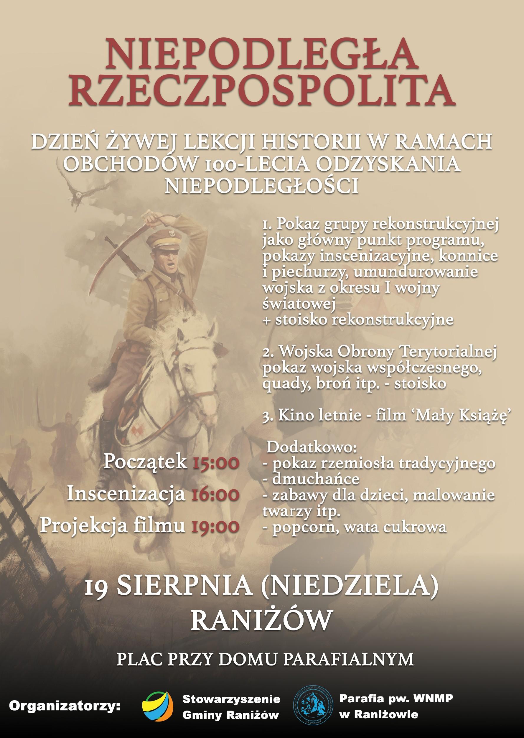 Konnice, piechurzy i Wojska Obrony Terytorialnej. W najbliższą niedzielę (19 sierpnia) odbędzie się w Raniżowie Dzień Żywej Lekcji Historii - Zdjęcie główne