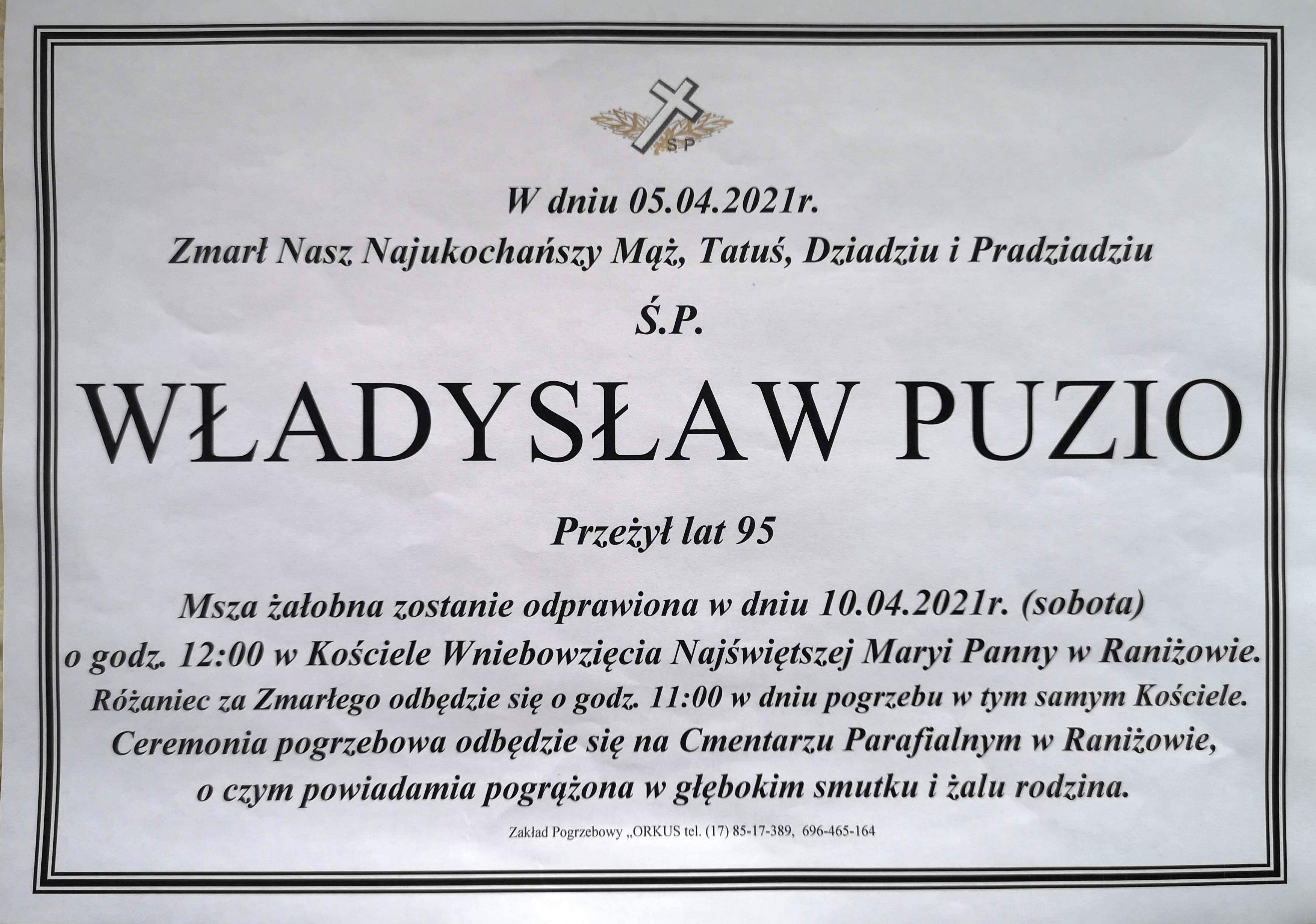 W sobotę pogrzeb Władysława Puzio [FOTO] - Zdjęcie główne