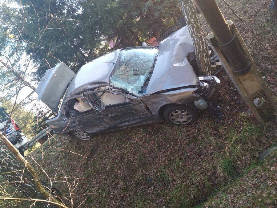Z PODKARPACIA. Roztrzaskał auto o drzewo. Trzy osoby w szpitalu [ZDJĘCIA] - Zdjęcie główne