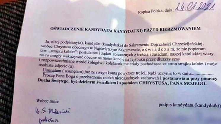"""Za """"Strajk Kobiet"""" nie będzie bierzmowania. Diecezja Rzeszowska zabiera głos - Zdjęcie główne"""