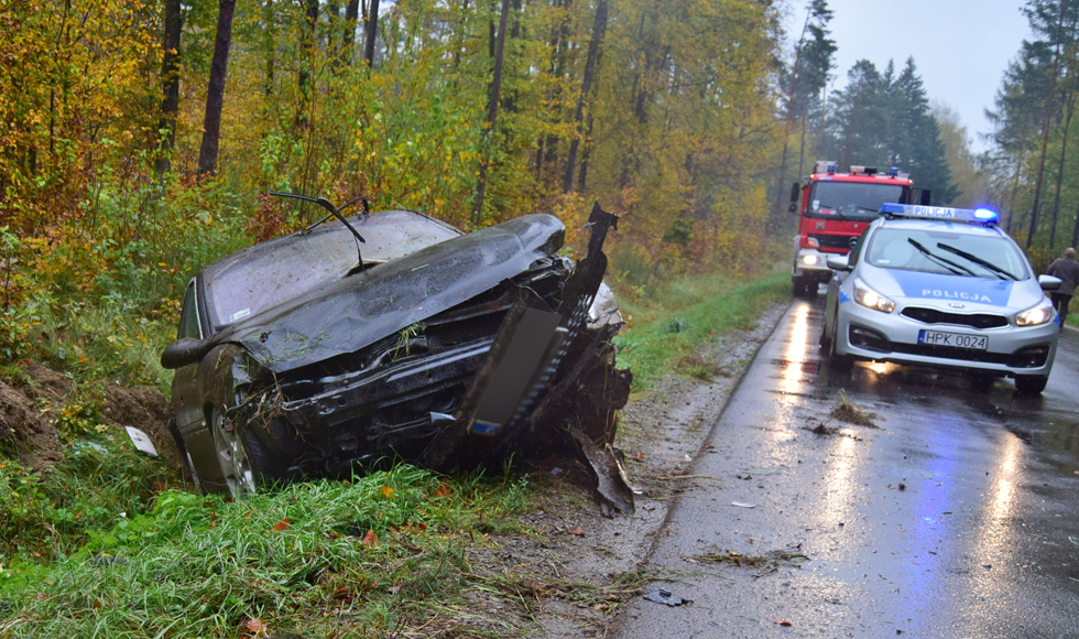 Kolizja między Kolbuszową a Trześnią. Kierowca opla wpadł w poślizg i wypadł z drogi [ZDJĘCIA] - Zdjęcie główne