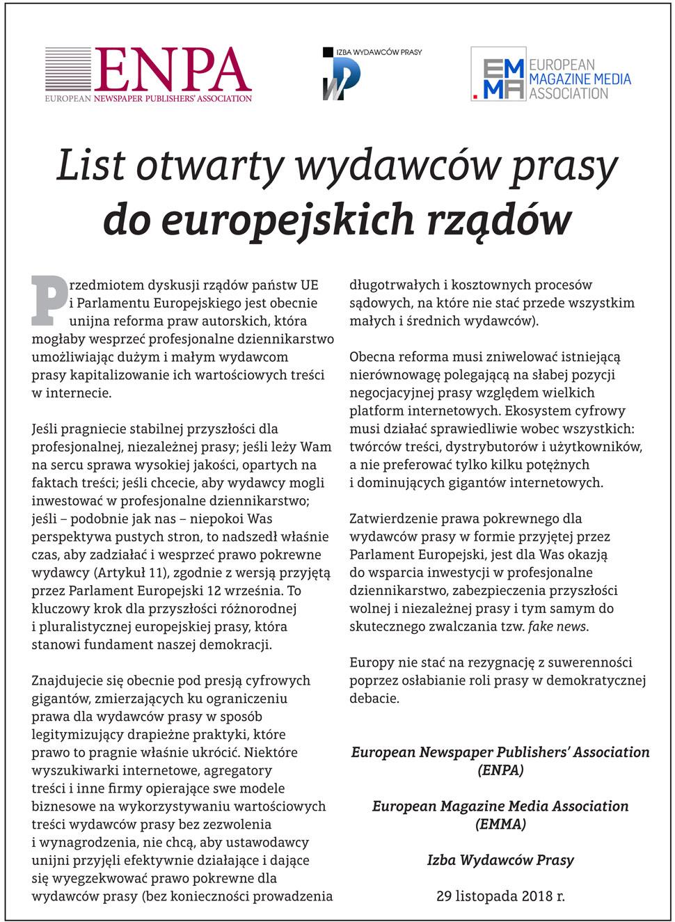 List otwarty wydawców prasy do europejskich rządów - Zdjęcie główne