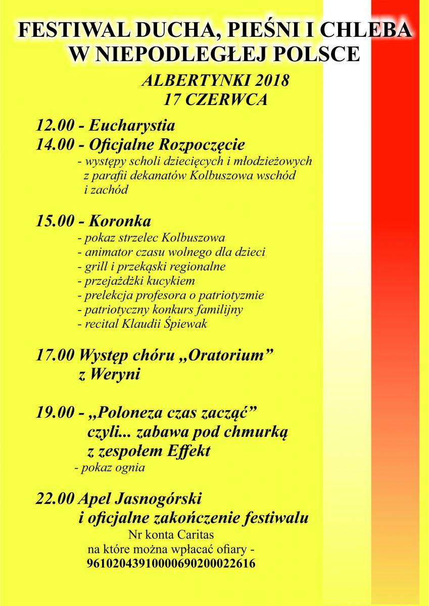 Albertynki 2018, czyli Festiwal Ducha, Pieśni i Chleba w Kolbuszowej  - Zdjęcie główne