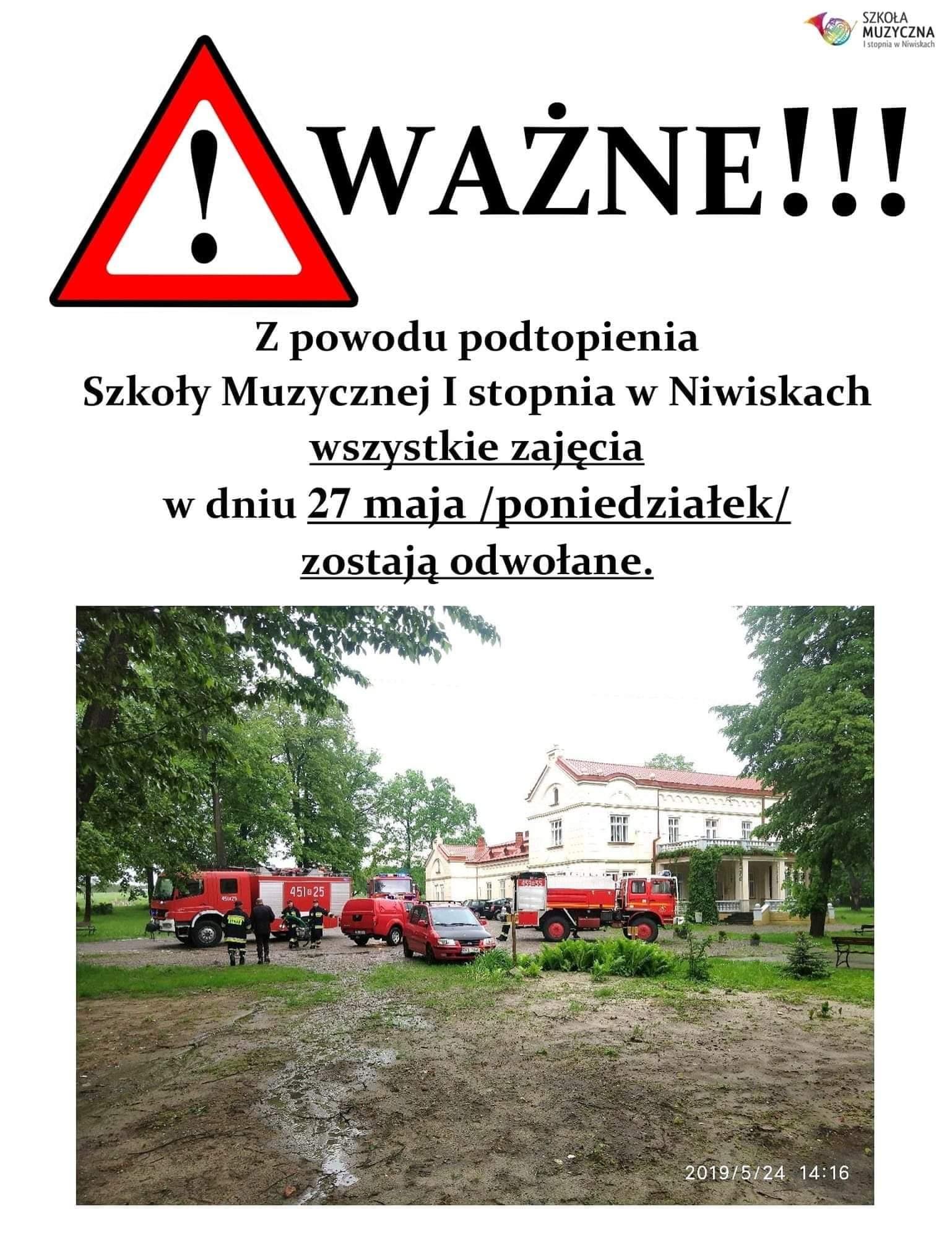 Podtopiona Szkoła Muzyczna w Niwiskach. Zajęcia zastają odwołane - Zdjęcie główne