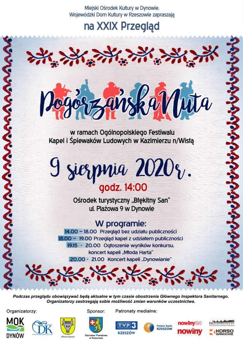 """Zapraszamy na przegląd """" XXIX Pogórzańska Nuta"""" Dynów 2020 - Zdjęcie główne"""
