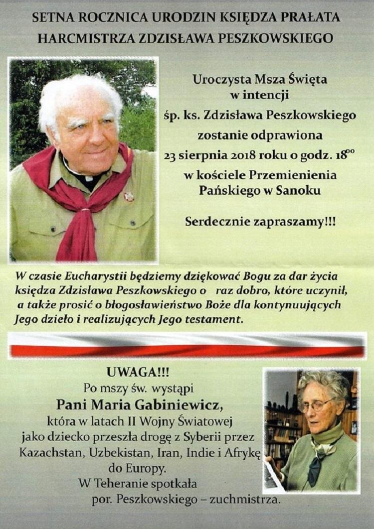 """100. rocznica urodzin ks. hm. Zdzisława """"Jastrzębiec"""" Peszkowskiego - Zdjęcie główne"""