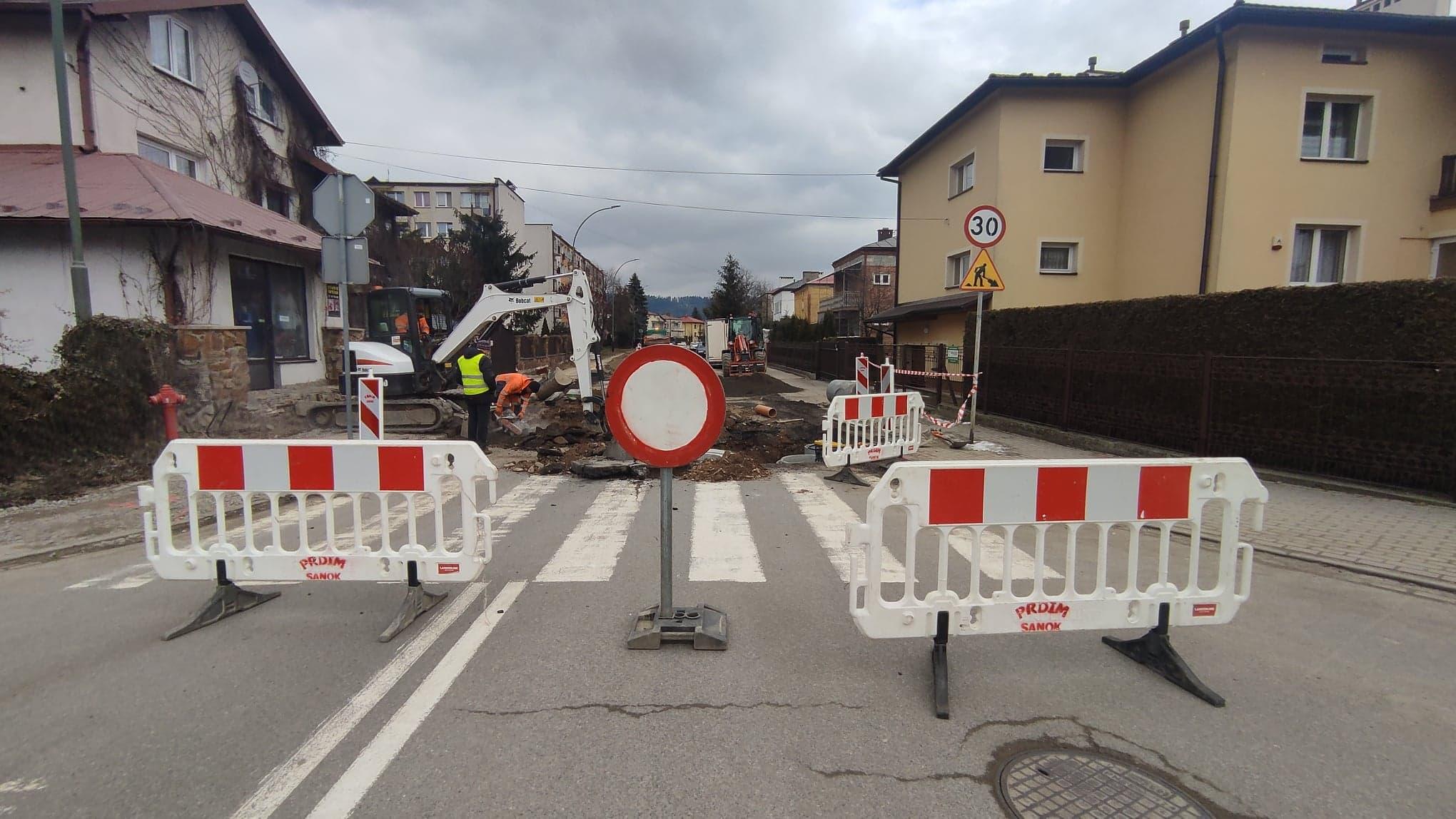 SANOK: Ulica Sadowa zamknięta. Trwają prace remontowe [ZDJĘCIA+WIDEO] - Zdjęcie główne