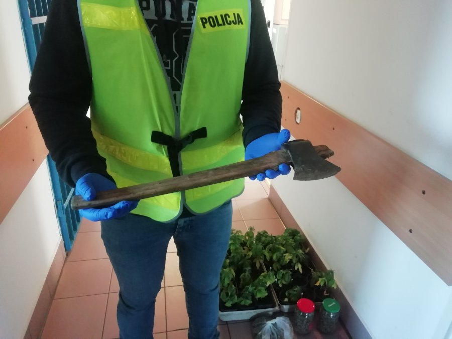 BRZOZÓW: 32-latek groził matce siekierą. Policja ujawniła w domu narkotyki [ZDJĘCIA] - Zdjęcie główne