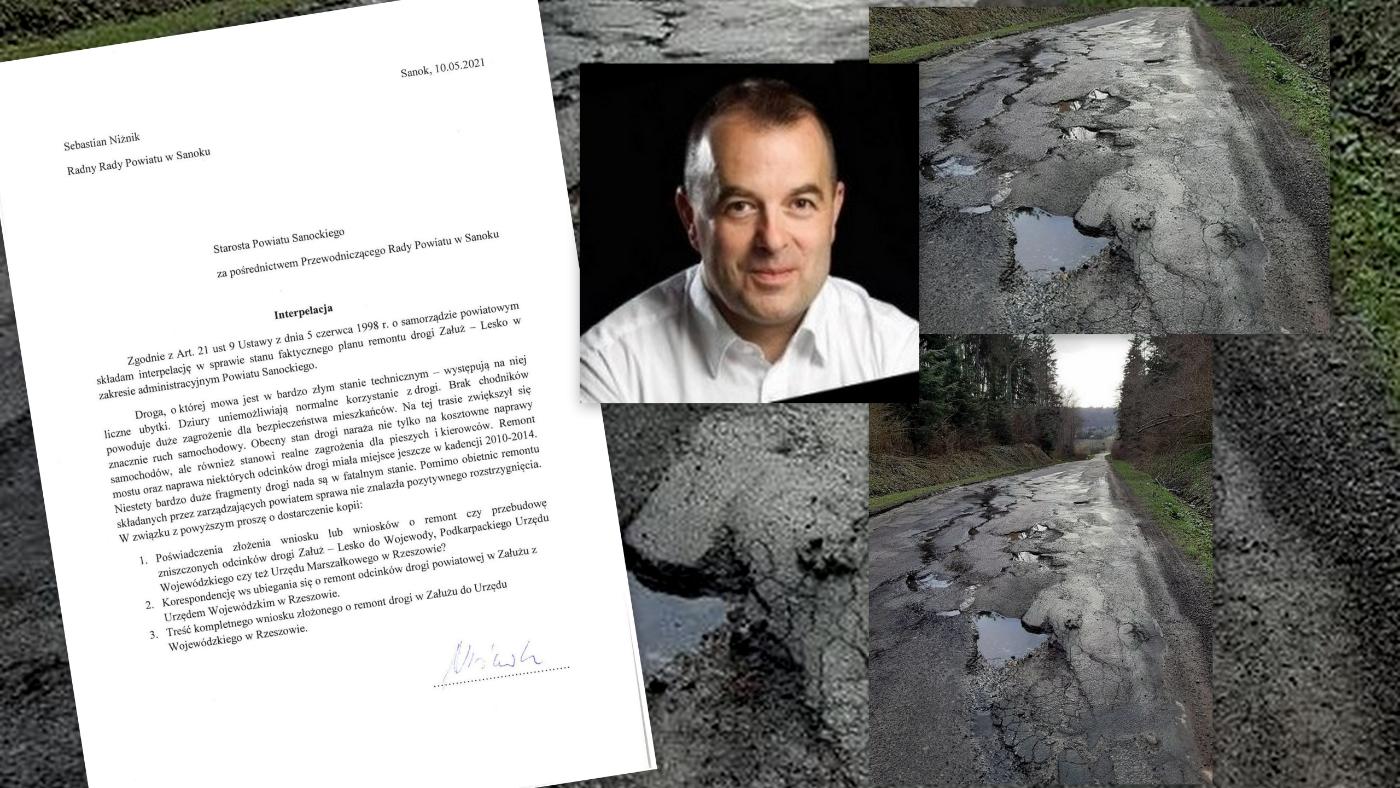 Radny Powiatu - Sebastian Niżnik interweniuje w sprawie drogi Załuż - Lesko - Zdjęcie główne