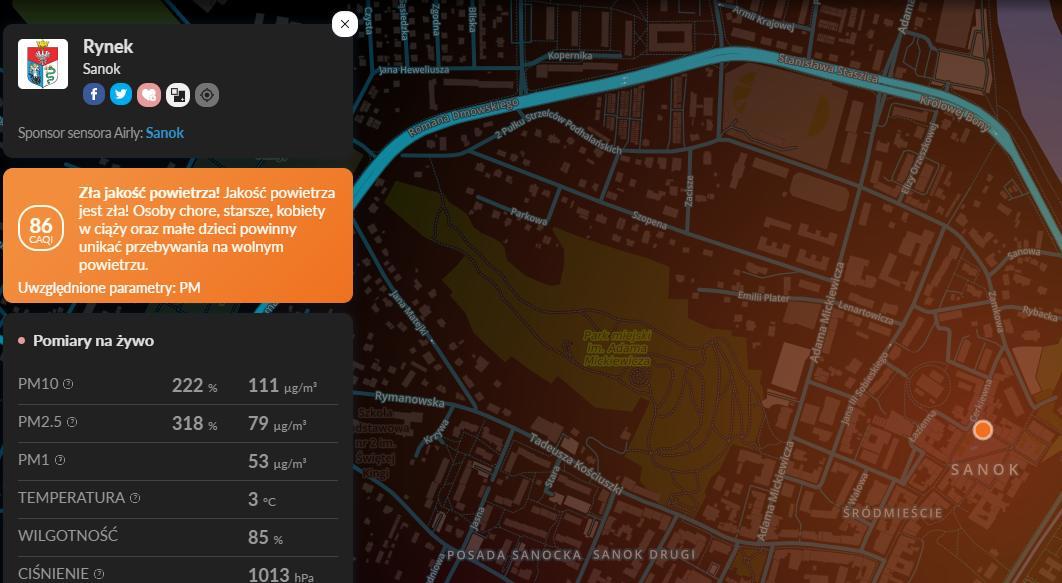 UWAGA: Zła jakość powietrza w Sanoku - Zdjęcie główne