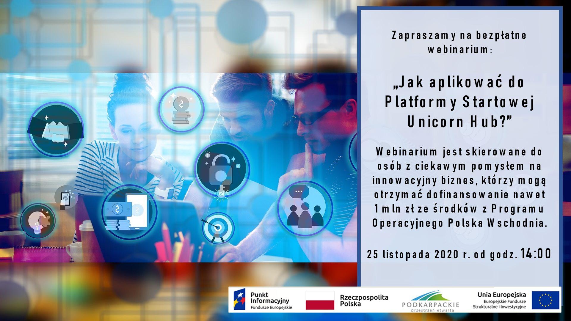 Sanok. Platforma Startowa Unicorn Hub - bezpłatne webinarium  - Zdjęcie główne