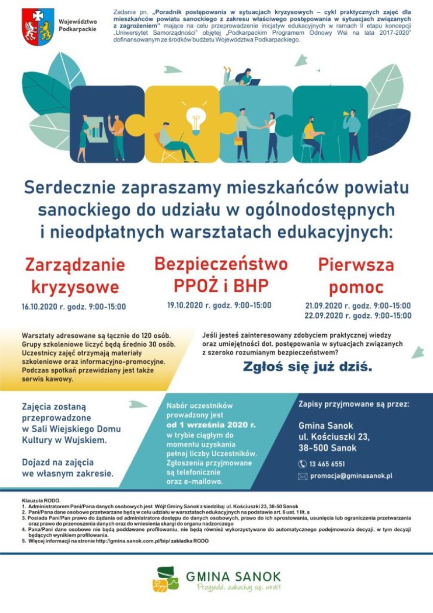 """Gmina Sanok. """"Uniwersytet Samorządności"""" - bezpłatne szkolenia  - Zdjęcie główne"""