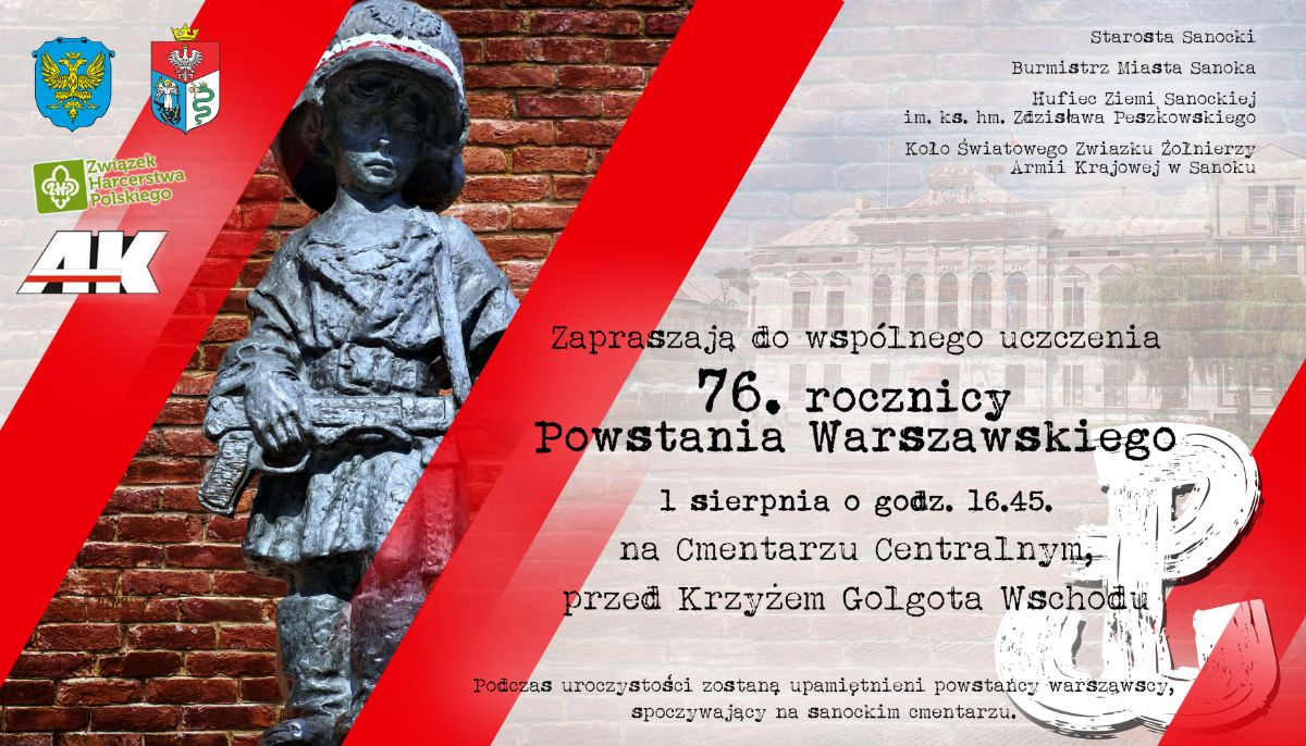 Obchody 76. rocznicy wybuchu Powstania Warszawskiego w Sanoku - Zdjęcie główne