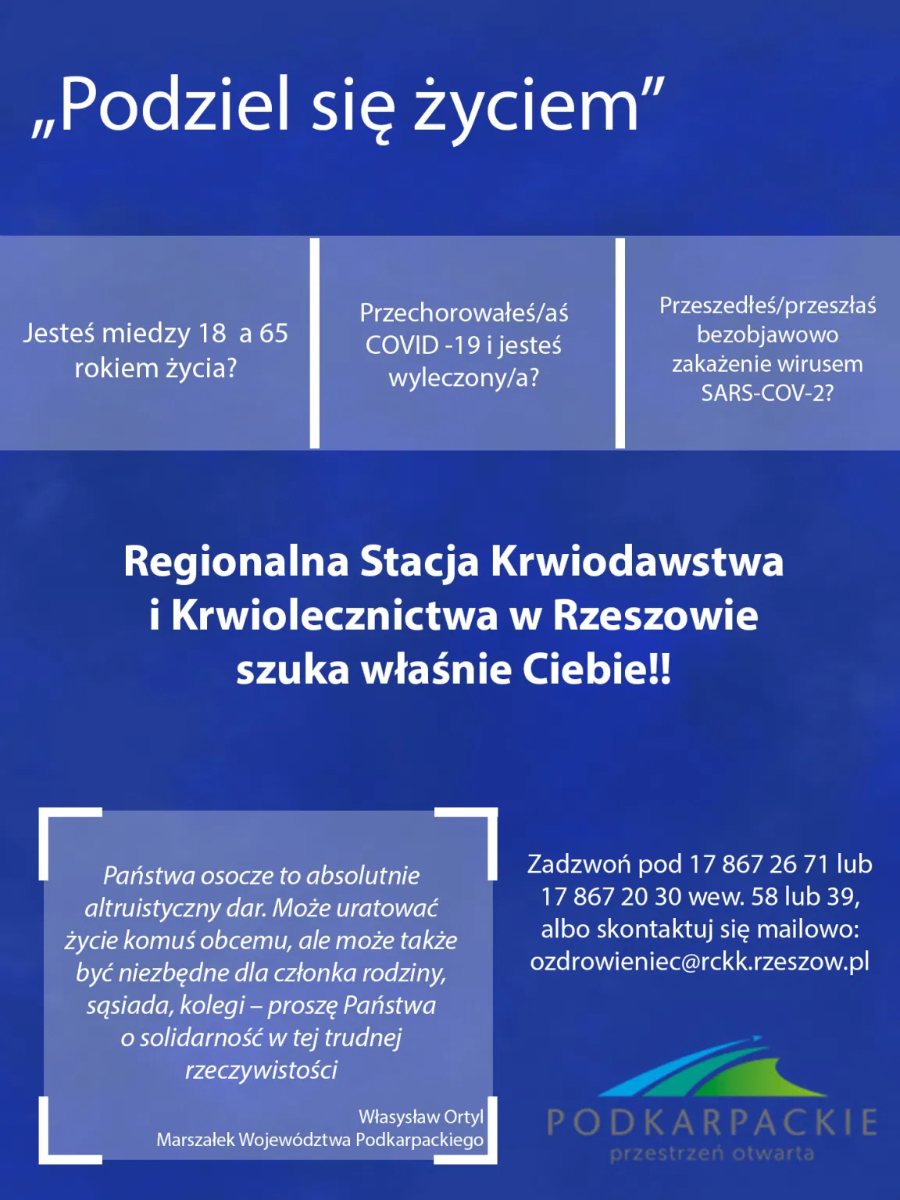 Apel od Marszałka Władysława Ortyla - ,,Podziel się życiem''  - Zdjęcie główne