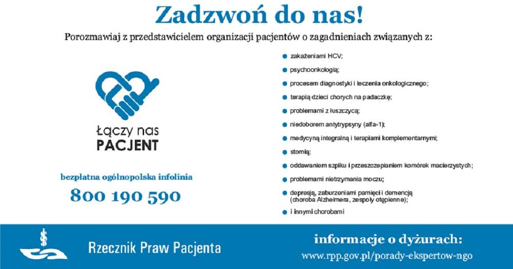 Dyżury przedstawicieli organizacji pacjentów w dniach 16-20 kwietnia br. - Zdjęcie główne