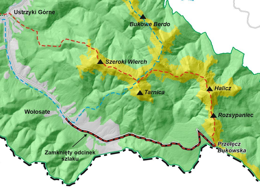 UWAGA! Szlak czerwony na odcinku Wołosate - Przełęcz Bukowska ZAMKNIĘTY! - Zdjęcie główne