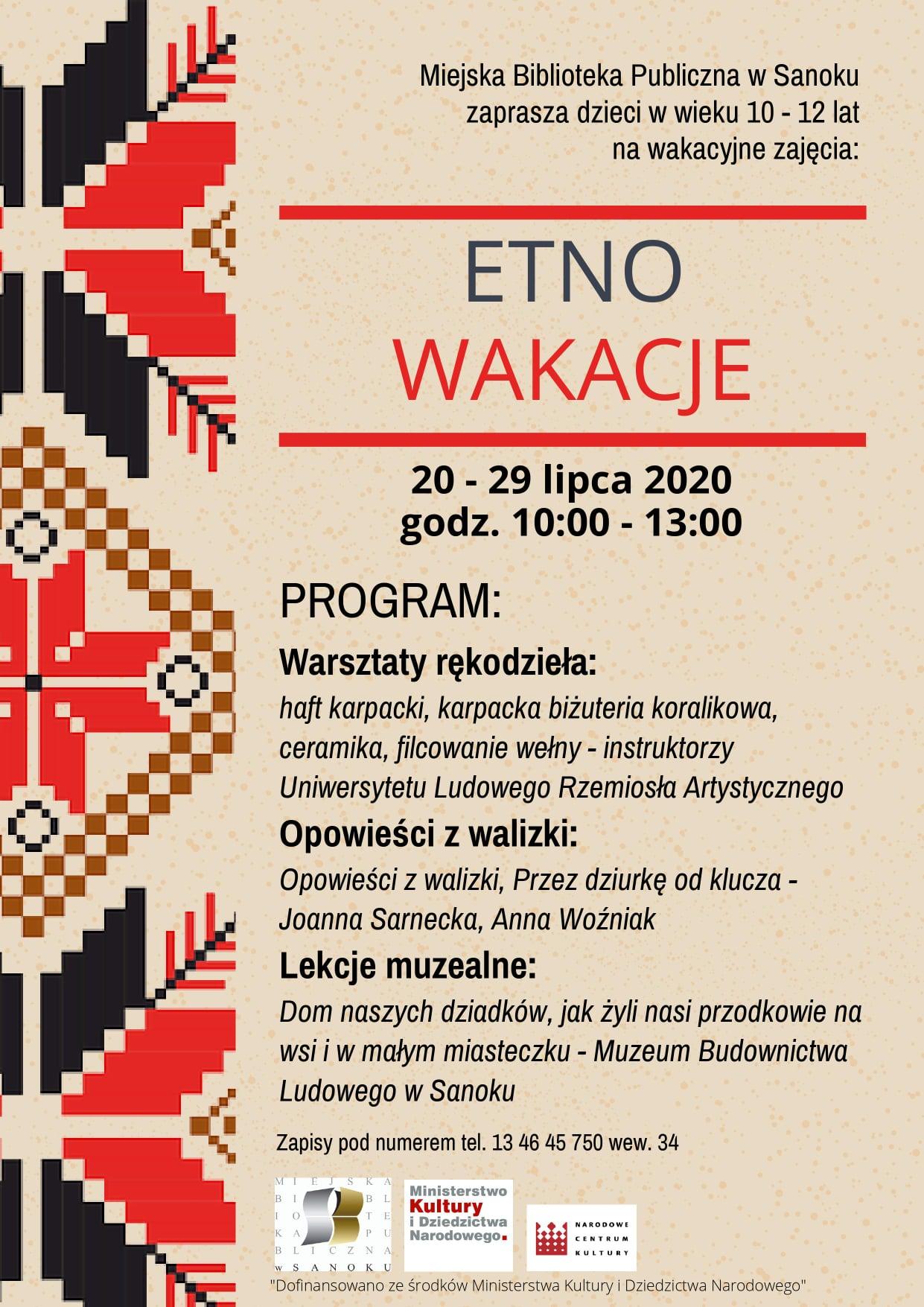 """Sanok: Miejska Biblioteka Publiczna zaprasza na """"Etno wakacje"""" - Zdjęcie główne"""