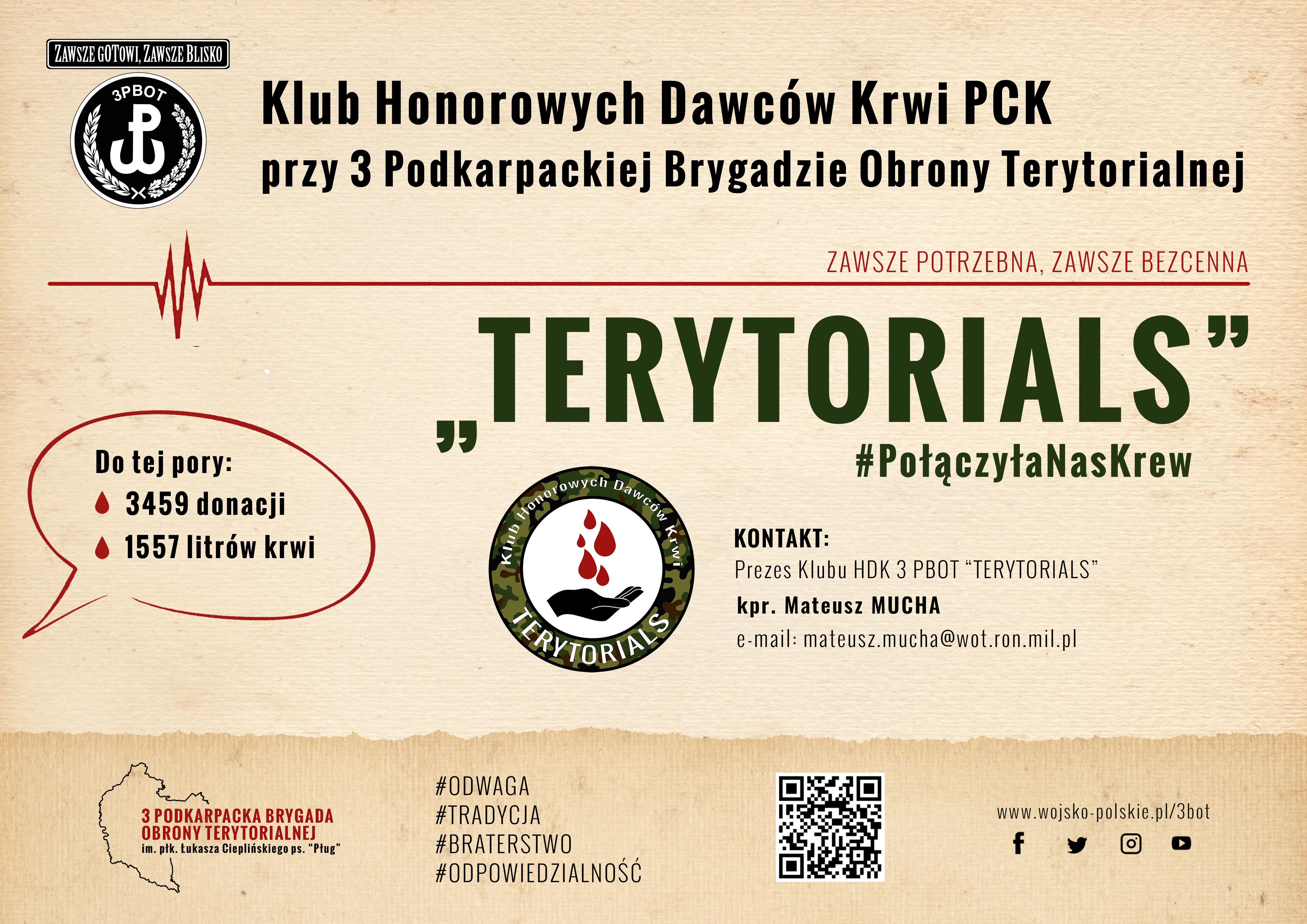"""Klub Honorowych Dawców Krwi Polskiego Czerwonego Krzyża """"Terytorials"""" - Zdjęcie główne"""